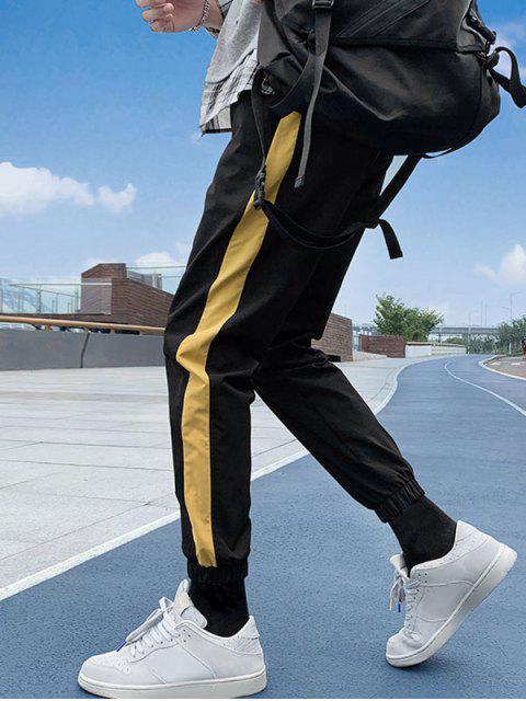 Farbe Gespleißte Freizeit Jogger Hose - Schwarz 4XL Mobile