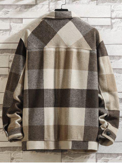 Kariertes Muster Knopf Taschen Mantel - Braunes Kamel  XL Mobile