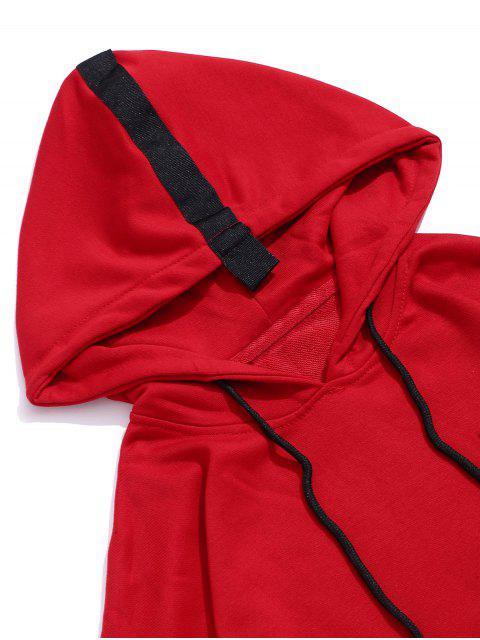 Grafische Muster Faux Zweiteiliger Hoodie - Rot 2XL Mobile