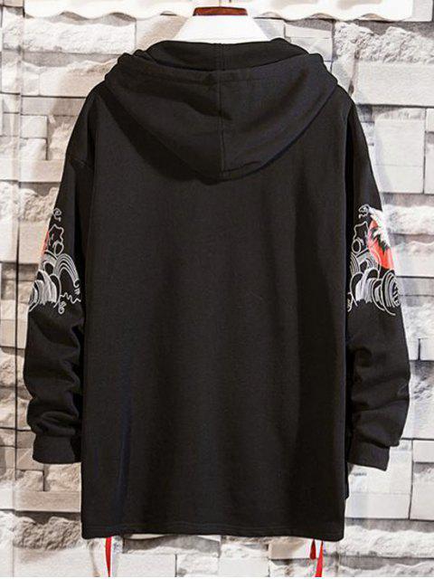 飛鶴打印系帶高低壓帽衫 - 黑色 XL Mobile