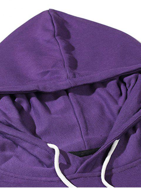 Buchstabedruck Reflektierende Kordelzug Lässige Hoodie - Lila Iris XL Mobile