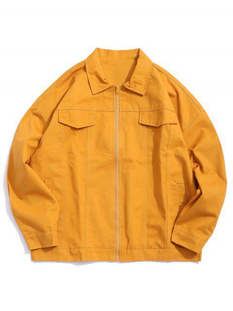 Buchstabe Grafikdruck Künstliche Klappe Tasche Jacke - Biene Gelb M Mobile