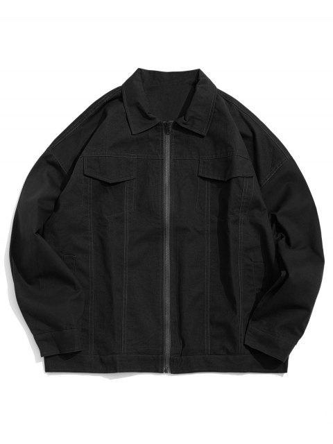 信圖形打印仿翼口袋外套 - 黑色 2XL Mobile