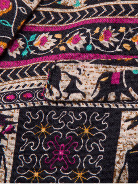 unique Ethnic Tribal Floral Print Slit Casual Blazer - MULTI-A M Mobile