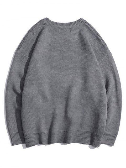 Pullover mit Rundhalsausschnitt und Buchstabe Grafik - Grau XL Mobile