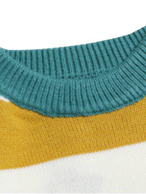 對比條紋圖形針織衫休閒 - 黑暗的綠松石 XL Mobile