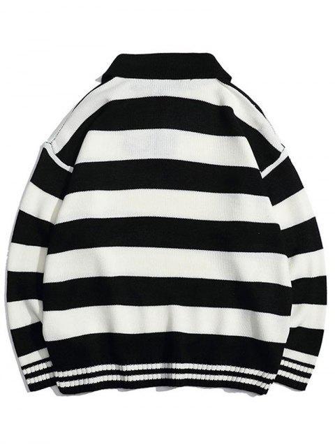 Kontrast Gestreifter Umlegekragen Pullover - Schwarz M Mobile