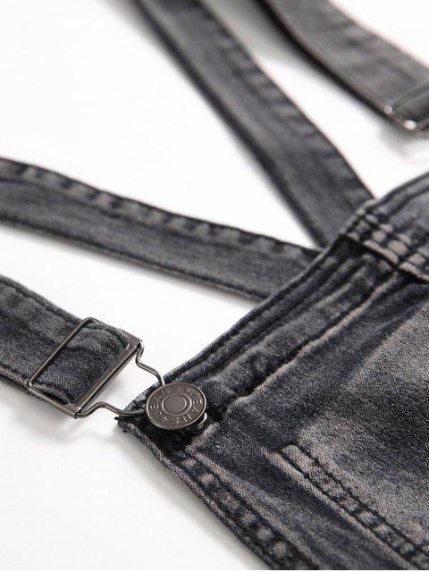 純色按鈕裝飾牛仔背帶褲 - 碳灰色 3XL Mobile