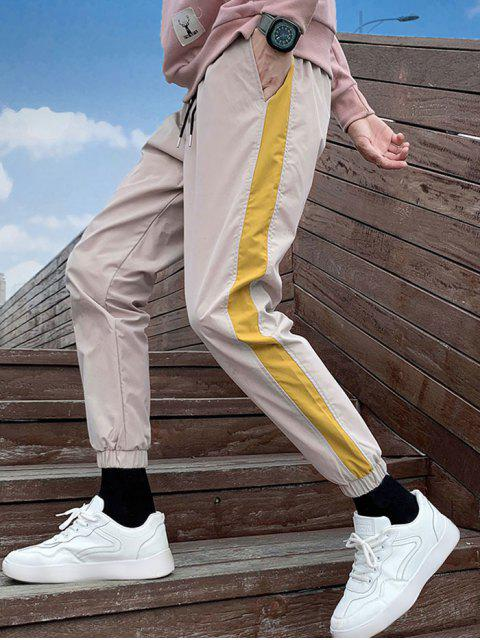 Farbe Gespleißte Freizeit Jogger Hose - Helles Khaki 4XL Mobile