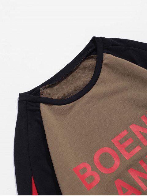 Colorblock拼接字母打印插肩袖套頭衫 - 駱駝棕色 XS Mobile
