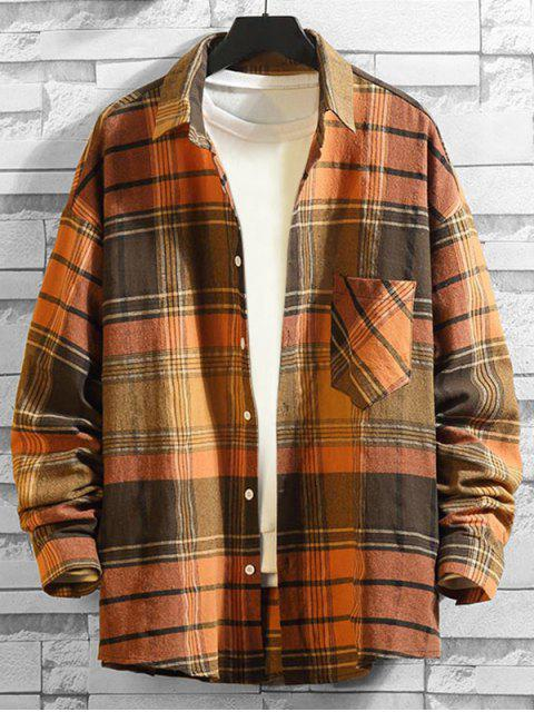 Kariertes Muster Tasche Langarm Shirt - Braunes Kamel  4XL Mobile