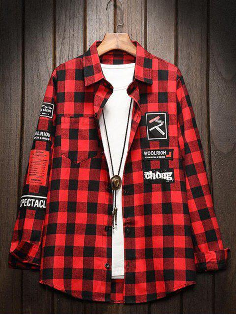 Grafischer Muster Knopf Voller Hülsen Shirt - Rubin Rot XL Mobile
