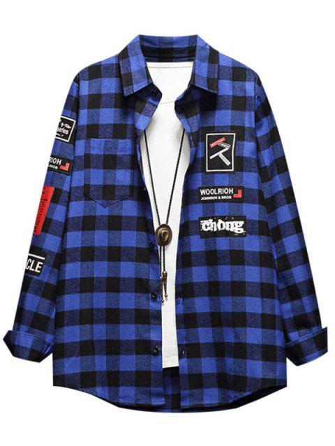 Grafischer Muster Knopf Voller Hülsen Shirt - Marinblau XL Mobile