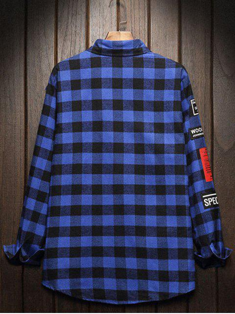 Botón del modelo gráfico completo mangas de la camisa - Azul Marino XL Mobile