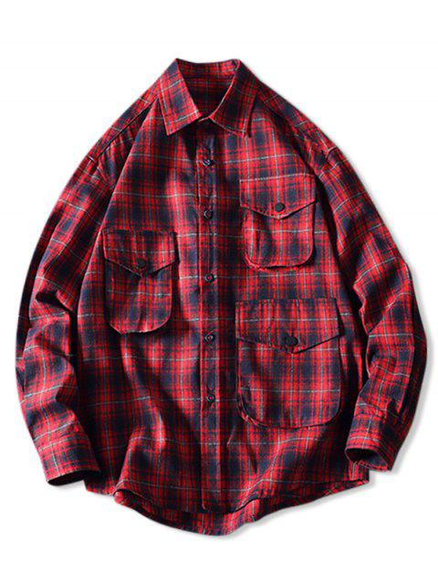 unique Casual Plaid Pattern Button Long Sleeves Shirt - LAVA RED L Mobile