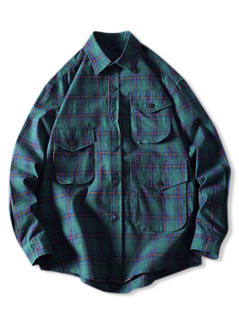 Lässiges Kariertes Muster Knopf Langarm Shirt - Mittleres Meer Grün 2XL Mobile
