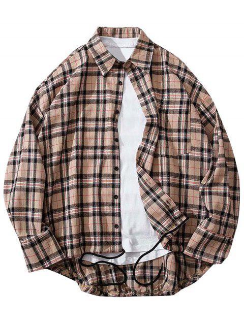 Kariertes Hemd mit Brusttaschen und Knopfleiste - Khaki Rose 2XL Mobile