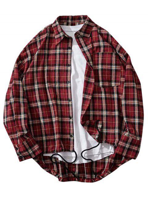格紋打印高低胸袋衫鈕 - 紅酒 2XL Mobile