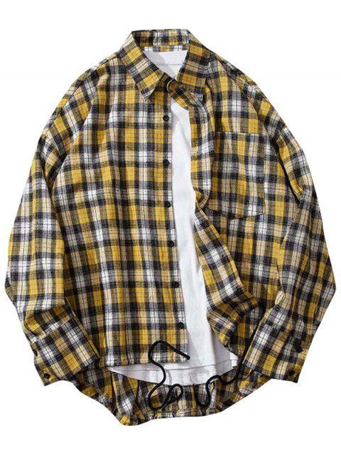 Imprimir la tela escocesa de Alto Bajo bolsillo en el pecho botón de la camisa - Amarillo M Mobile