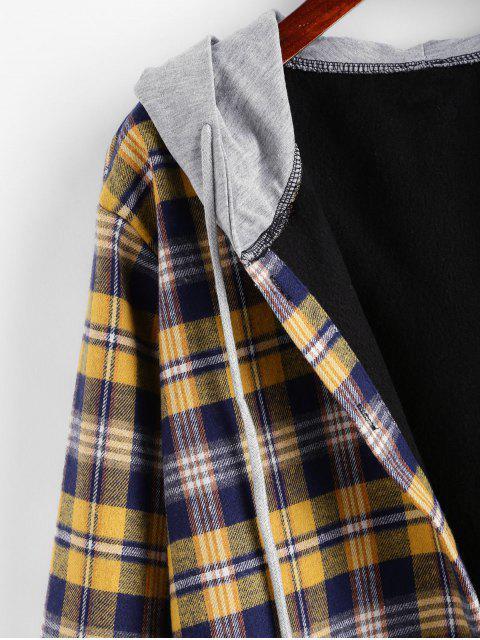 Hoodie Vlies Karierter Vorder Tasche Top - Gelb M Mobile