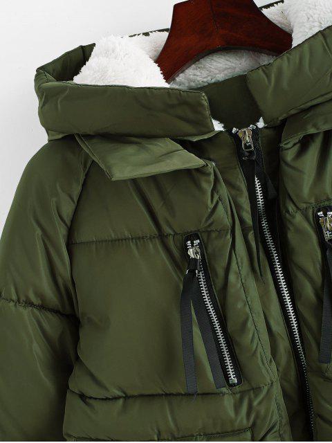 Kapuze Reißverschluss Vorne Pelz Linie Gesteppter Mantel - Armeegrün M Mobile
