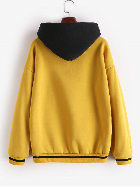 affordable Stripes Panel Slogan Graphic Front Pocket Hoodie - YELLOW L Mobile