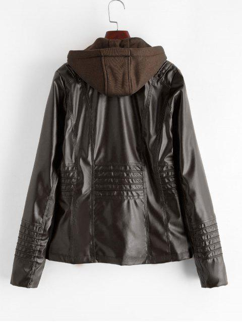 fancy Hooded Full Zip Zippered Pockets Faux Leather Jacket - COFFEE S Mobile