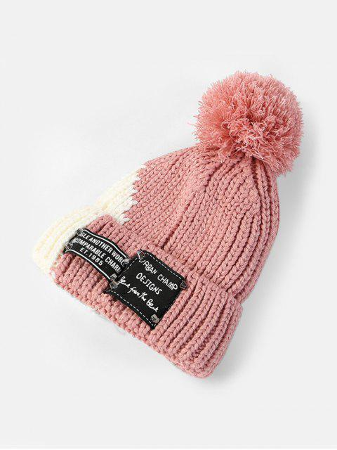 Bonnet d'Hiver Tricoté en Blocs de Couleurs - Rose   Mobile