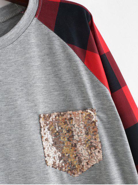 affordable Plaid Panel Sequined Pocket Sweatshirt - MULTI-B XL Mobile