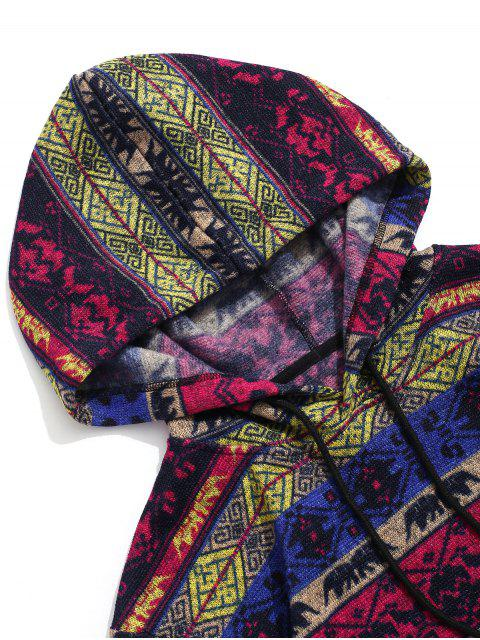 ZAFUL Ethnischer Stammes Druck Karierte Spleißen Hoodie - Multi 2XL Mobile