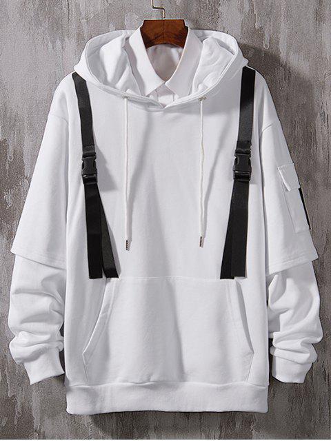 Faux Twinset Seitentasche Verschönerter Kapuzenpullover - Weiß XL Mobile