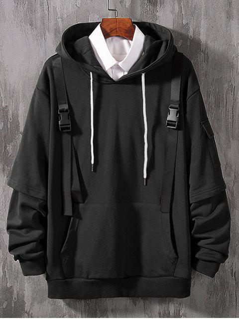 仿兩件套側袋帶點綴連帽衫 - 黑色 XS Mobile