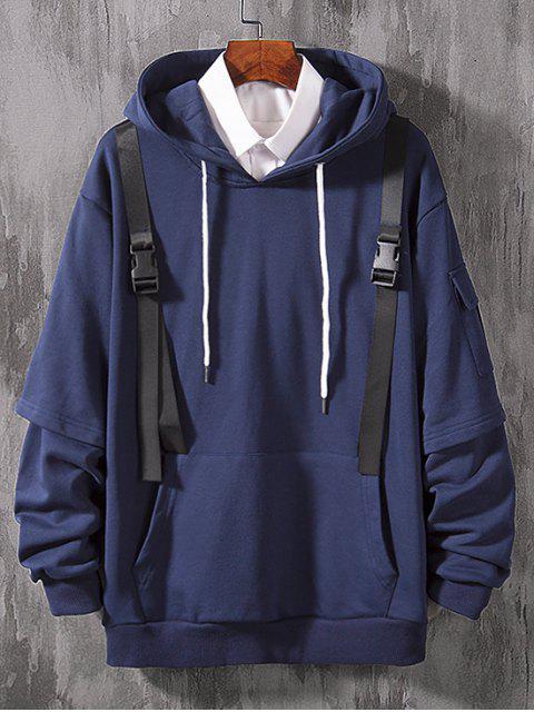 仿兩件套側袋帶點綴連帽衫 - 牛仔布深藍色 XS Mobile