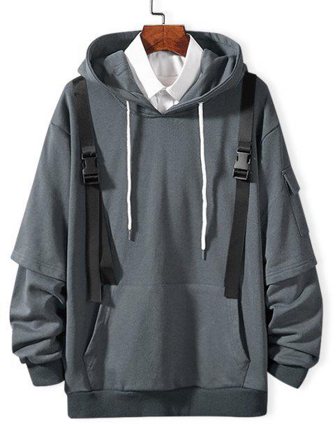 仿兩件套側袋帶點綴連帽衫 - 多雲灰色 S Mobile