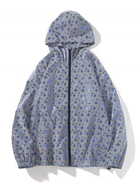 反光印花拉鍊拉上連帽外套 - 水晶藍 L Mobile