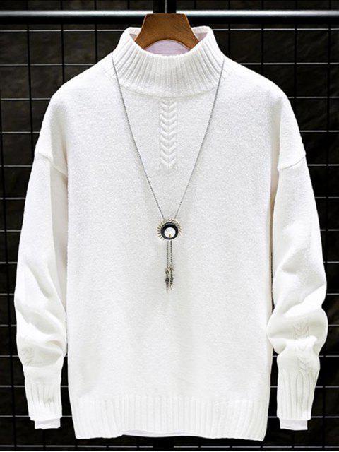 Lässiger Einfarbiger Stehkragen Pullover - Weiß L Mobile
