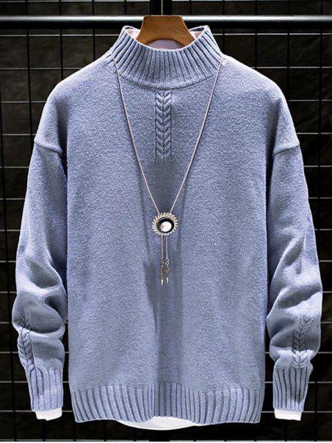 Lässiger Einfarbiger Stehkragen Pullover - Pastellblau L Mobile