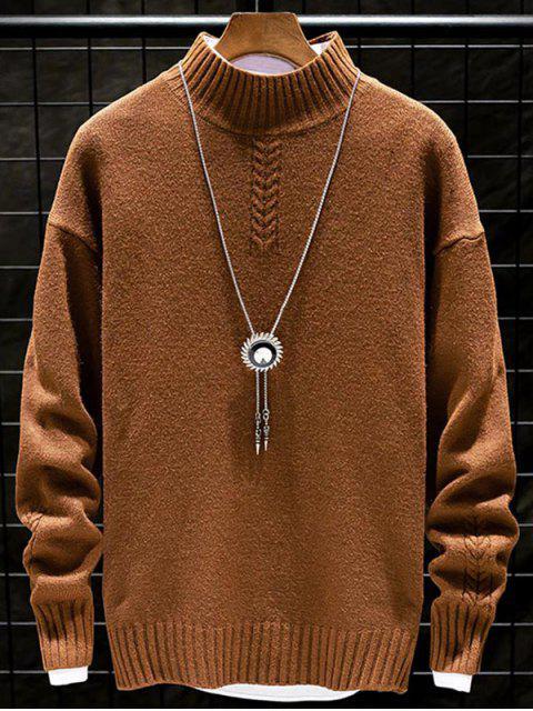 Lässiger Einfarbiger Stehkragen Pullover - Kaffee L Mobile