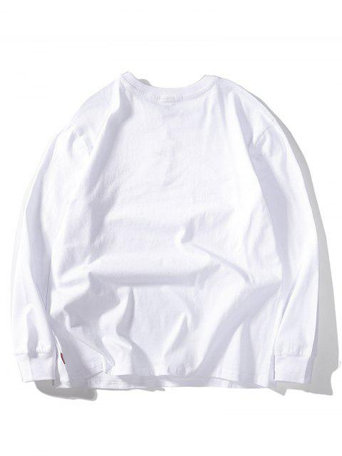 四葉繡花休閒T卹 - 白色 XL Mobile