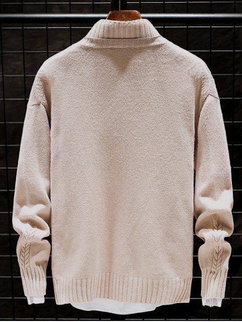 Lässiger Einfarbiger Stehkragen Pullover - Helles Khaki L Mobile