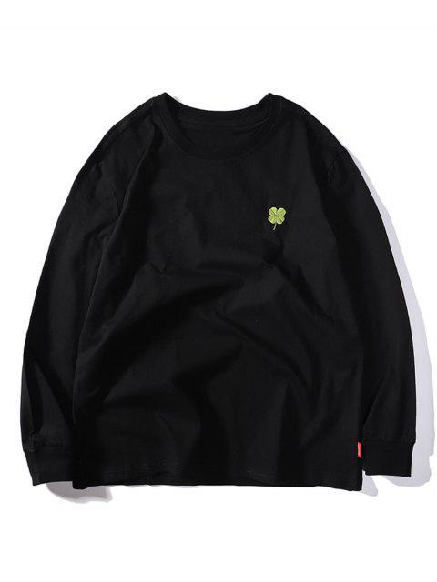 四葉繡花休閒T卹 - 黑色 L Mobile