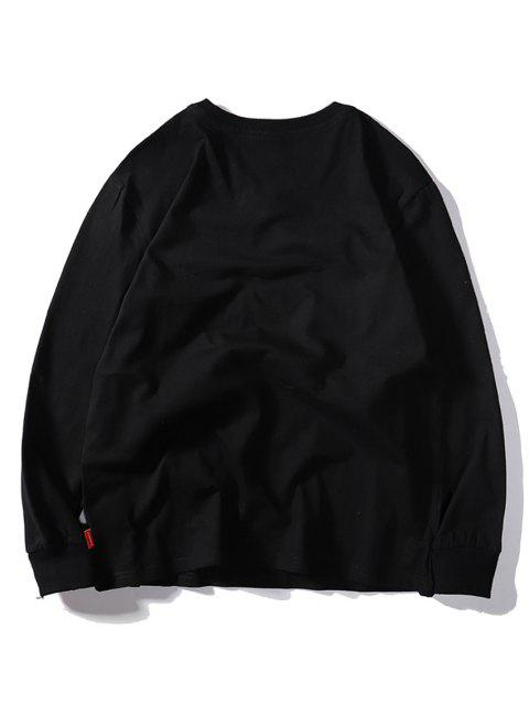 四葉繡花休閒T卹 - 黑色 2XL Mobile