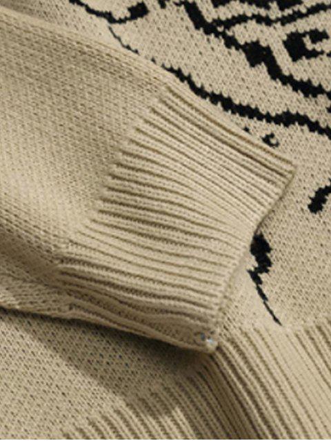 字符圖形圓領毛衣休閒 - 黃褐色 M Mobile