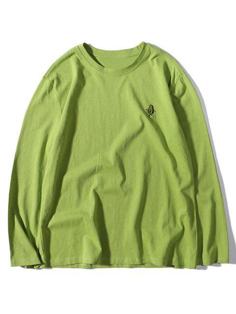 Avocadodruck-Stickerei-Langärmliges T-Shirt - Grüne Zwiebel 2XL Mobile
