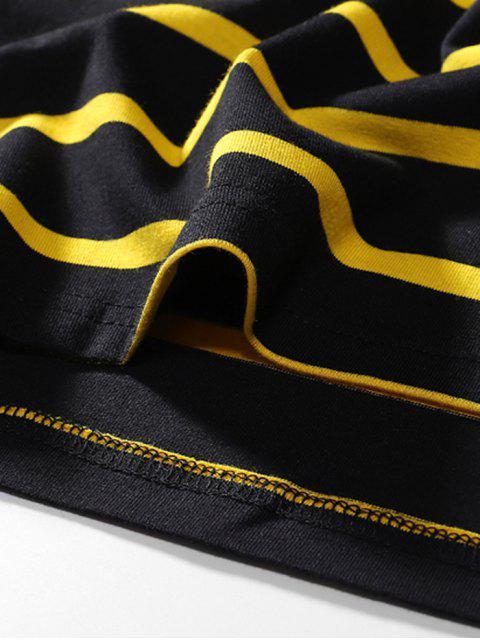 コントラスト・ストライプスの手紙刺繍ロングスリーブTシャツ - ブラック M Mobile