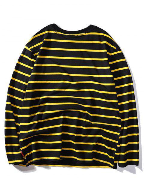 Kontrast Streifen Buchstabe Besticktes Langarm T-Shirt - Schwarz 2XL Mobile