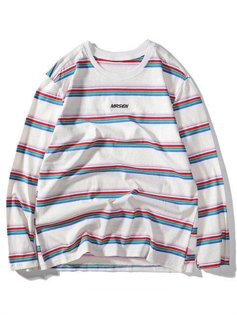 ストライプ 文字刺繍カジュアルTシャツ - 白 M Mobile