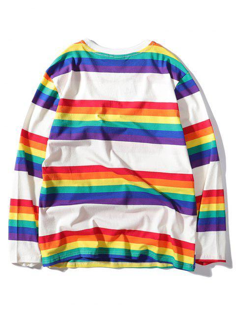 彩虹條紋打印長袖T卹 - 白色 2XL Mobile