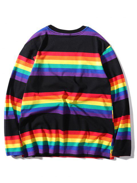 Regenbogen Gestreiftes Druck Langarm T-Shirt - Schwarz L Mobile