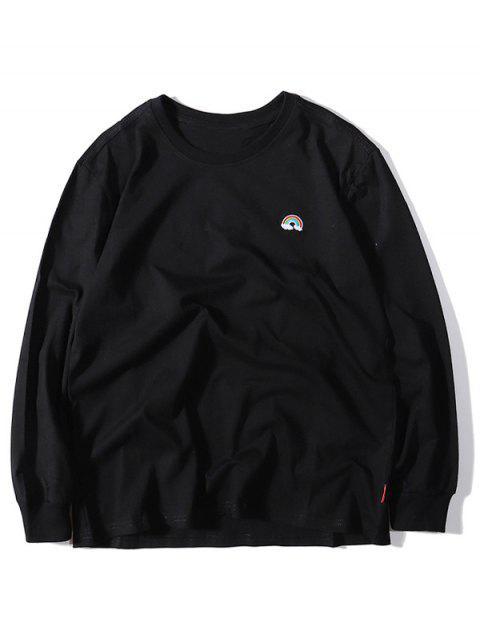 Regenbogen-Stickerei-Rundhalsausschnitt-Beiläufiges T-Shirt - Schwarz 2XL Mobile